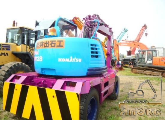 Экскаватор колесный Komatsu PW128UU-1 синий - ЯпЭкс - Реализация Японской спецтехники на российском рынке. Покупка с аукционов Японии под Ваш заказ.